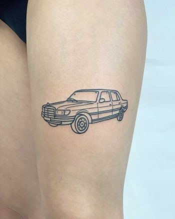 Mercedes S116 tattoo by @themagicrosa