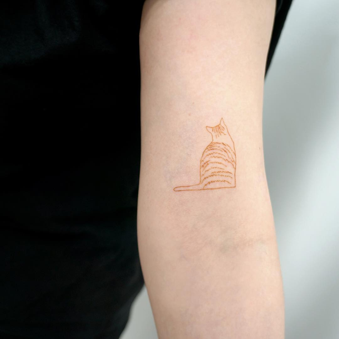 Mustard cat by @tattooist_sigak