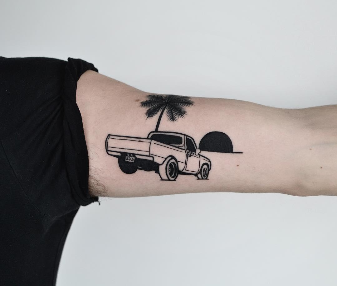 Pickup truck tattoo by @tototatuer