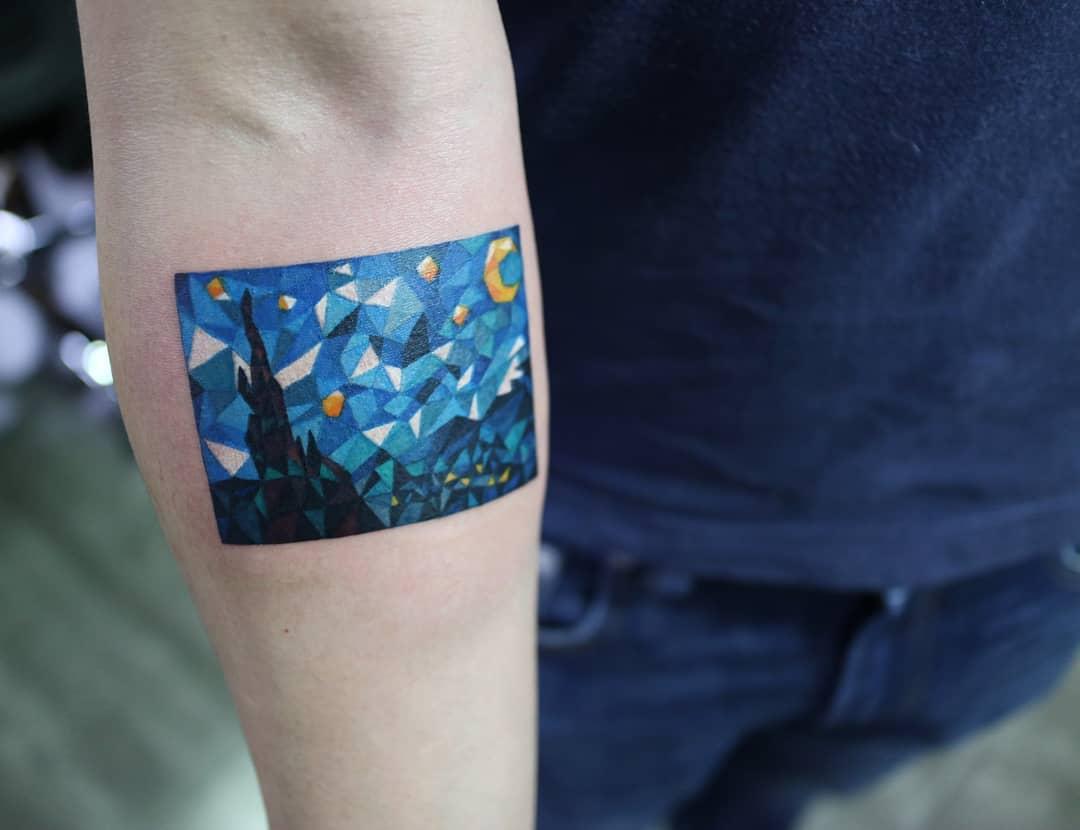 Polygonal Starry Night by @polyc_sj