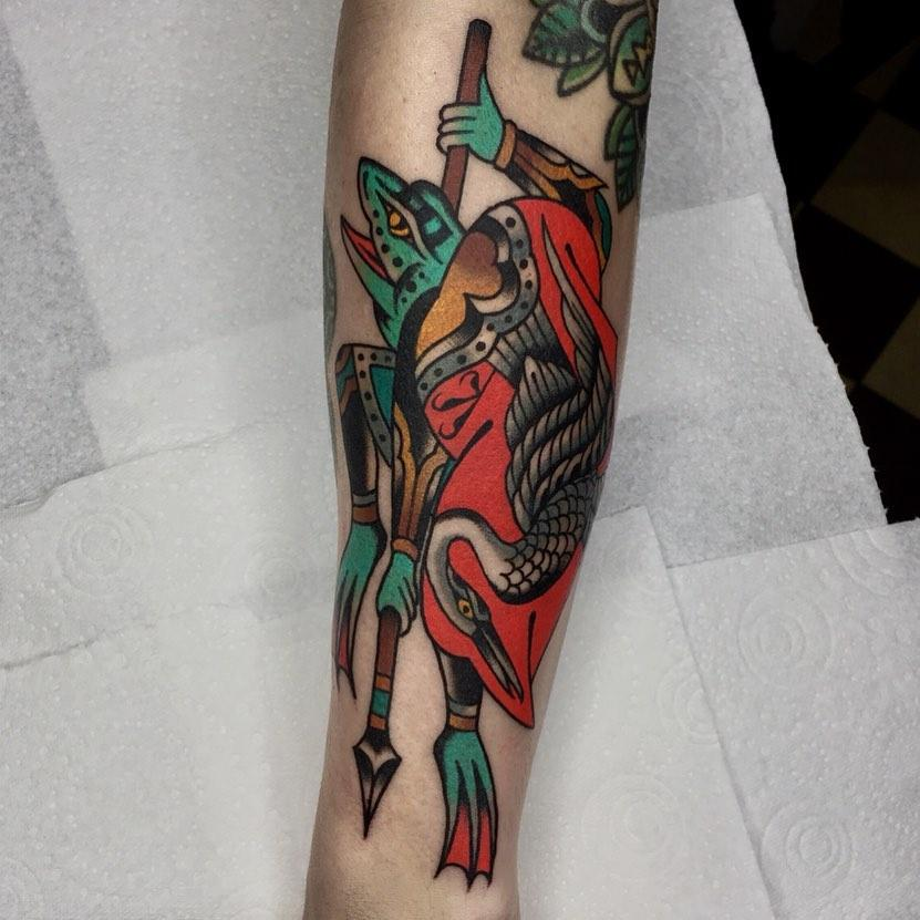 Samurai froggy and crane by @lukejinks