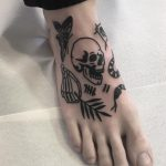 Small black tattoos on a foot by @hanaroshinko
