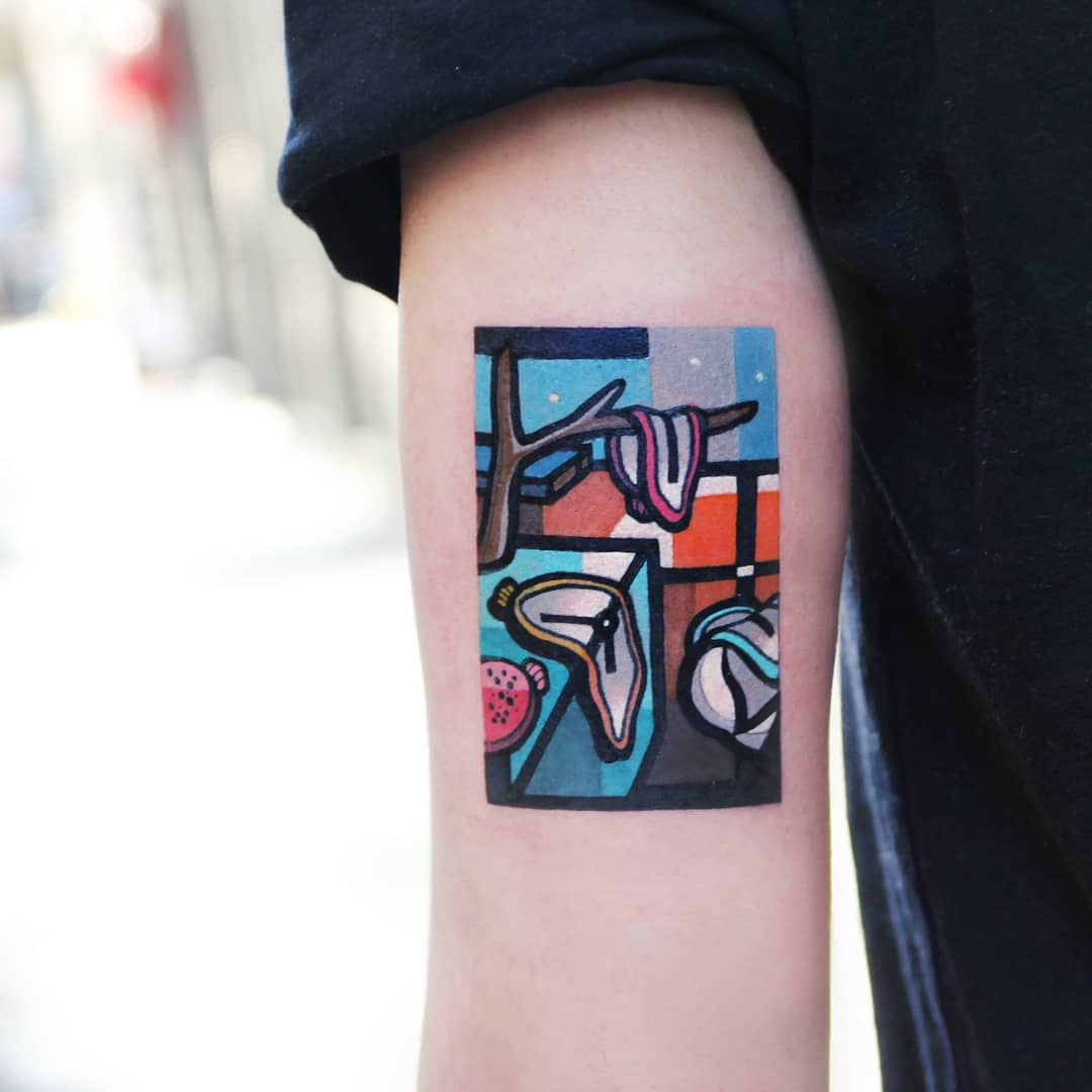 The Persistence of Memory tattoo by @polyc_sj