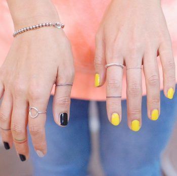 Thin ring lines by @wittybutton_tattoo