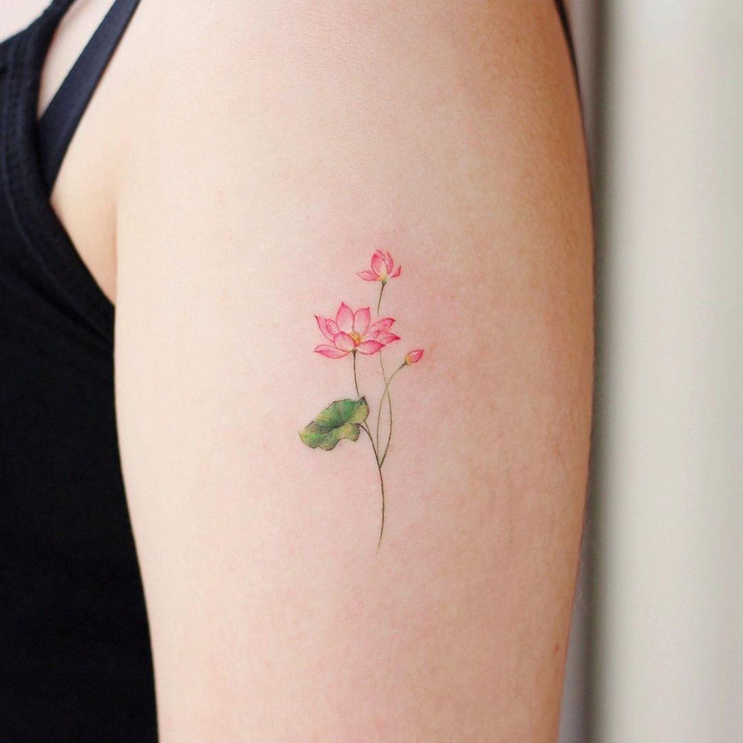 Tiny Lotus flower by @vane.tattoo_