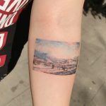 Watercolor landscape by @tattooist_flower
