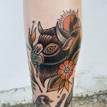 Bison head tattoo by @rabtattoo