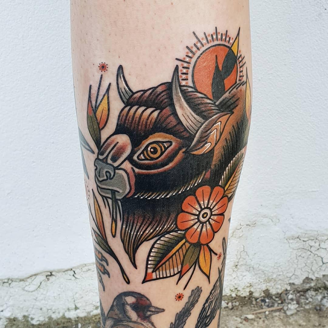 Bison head tattoo by @rabtattoo