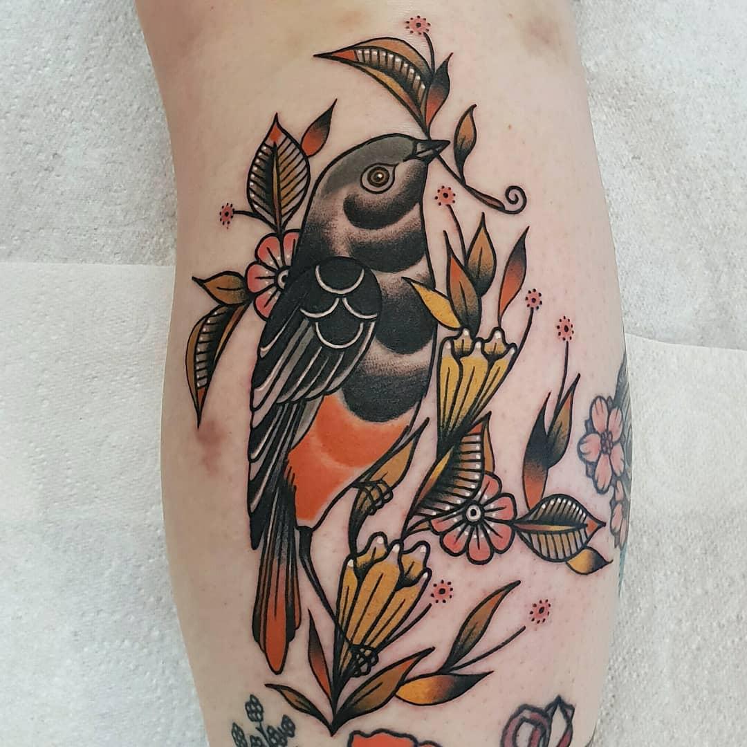 Black Redstart tattoo by @rabtattoo