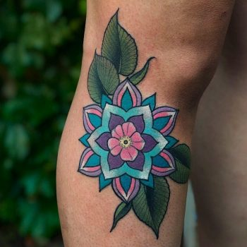Blueish flower by @lindseebeetattoo