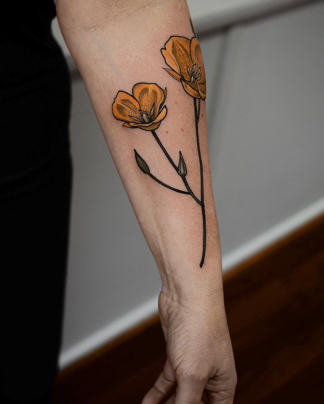 Calochortus tattoo by @sophiabaughan