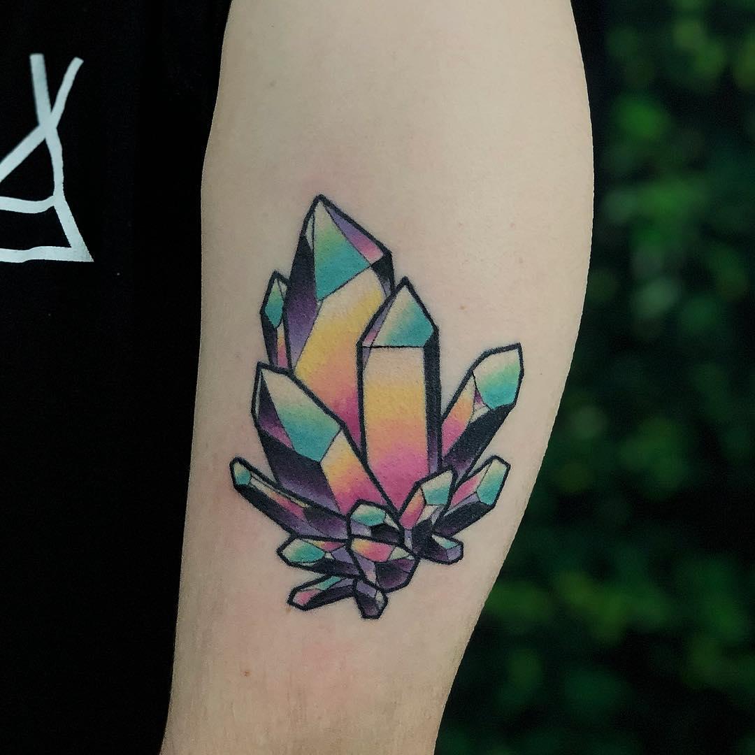 Colorful crystals by @lindseebeetattoo