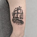 Cool ship by @justinoliviertattoo