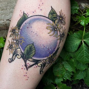 Crystal ball witch hazel by @lindseebeetattoo