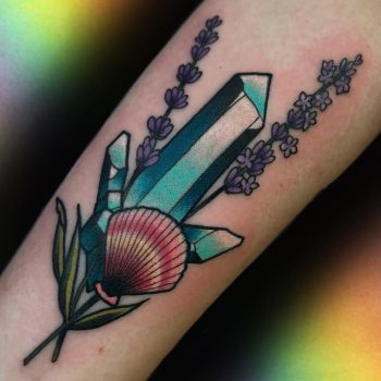 Crystal shell lavender by @lindseebeetattoo