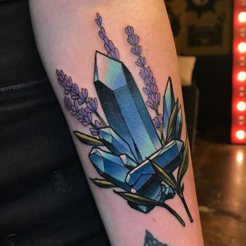 Crystals and lavender by @lindseebeetattoo