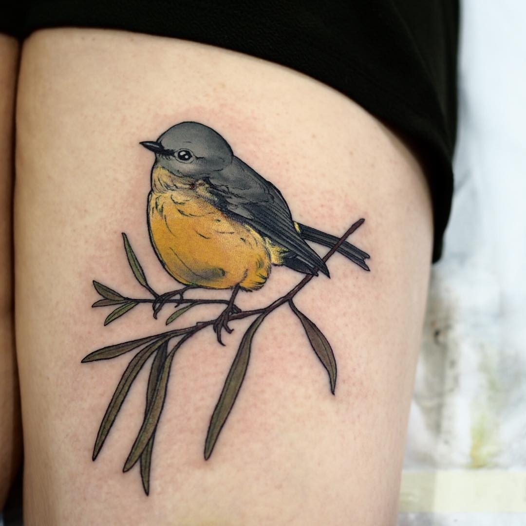 Eastern yellow robin tattoo by @sophiabaughan