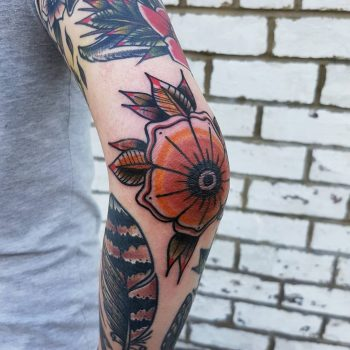 Elbow flower by @rabtattoo