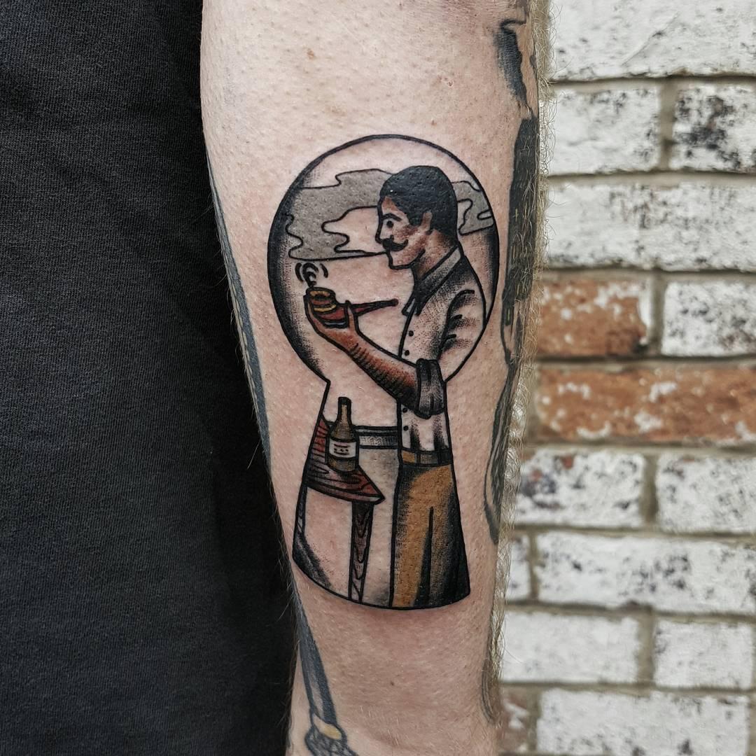 Gentleman peeper tattoo by @rabtattoo