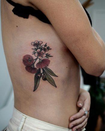Geraldton wax flowers tattoo by @sophiabaughan
