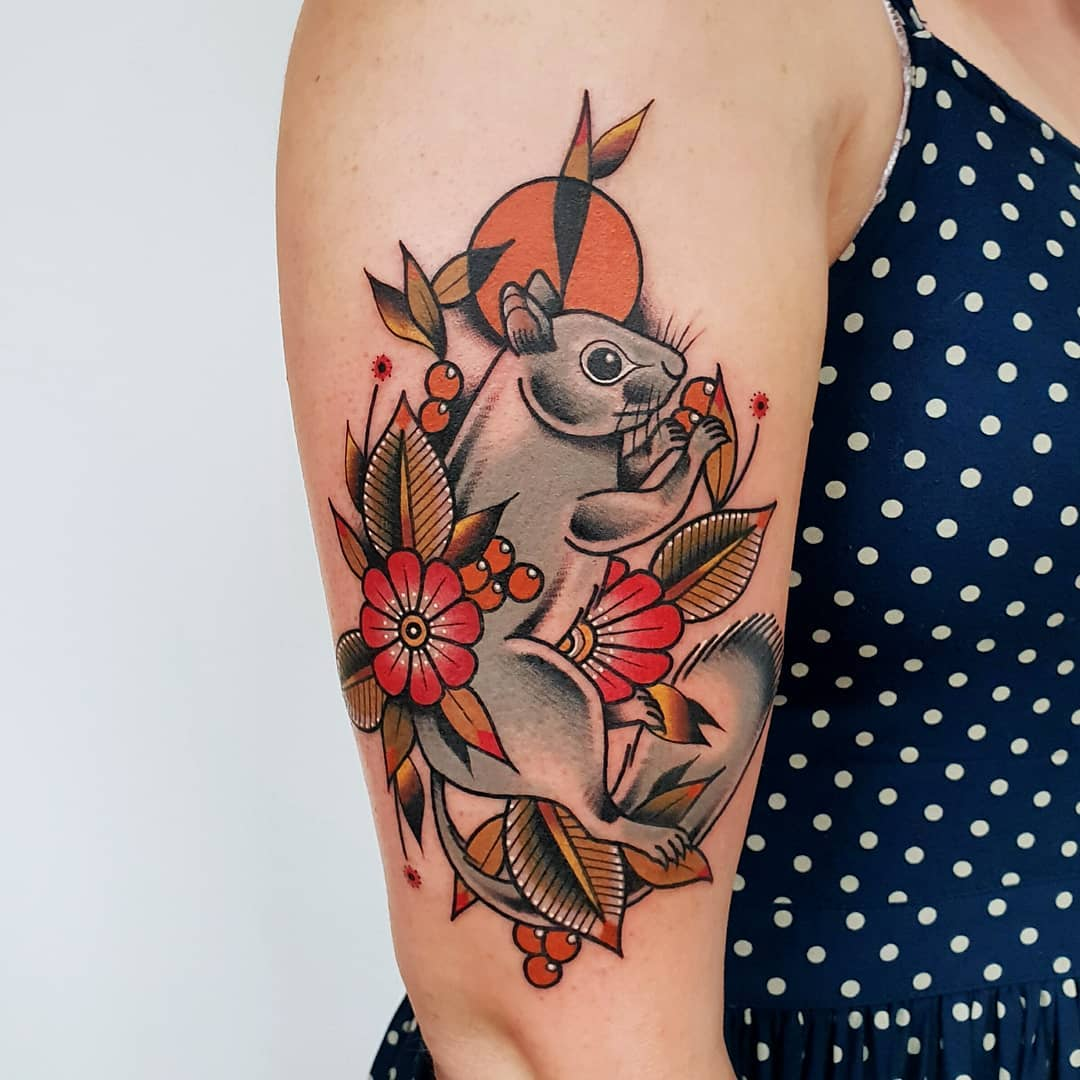 Grey squirrel tattoo by @rabtattoo