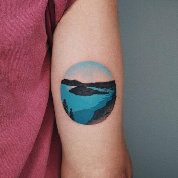 Island in a lake tattoo by @takemymuse