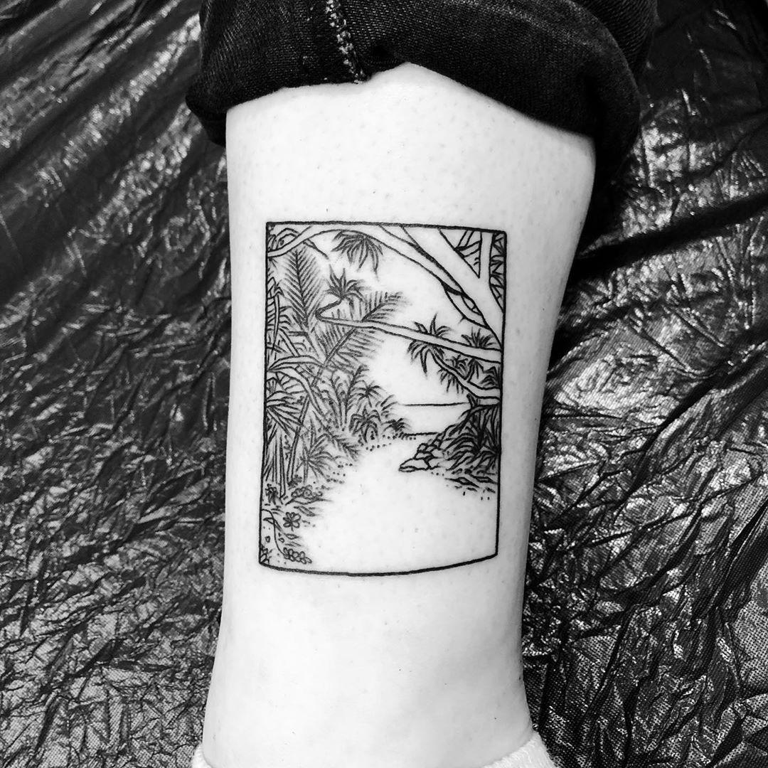 Jungle scenery tattoo by @alexbergertattoo