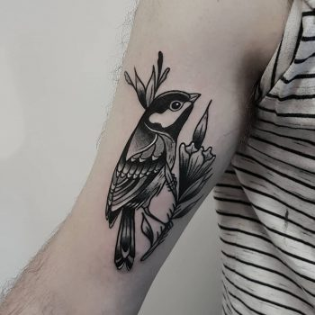 Little grey and black tit on a flower by @rabtattoo