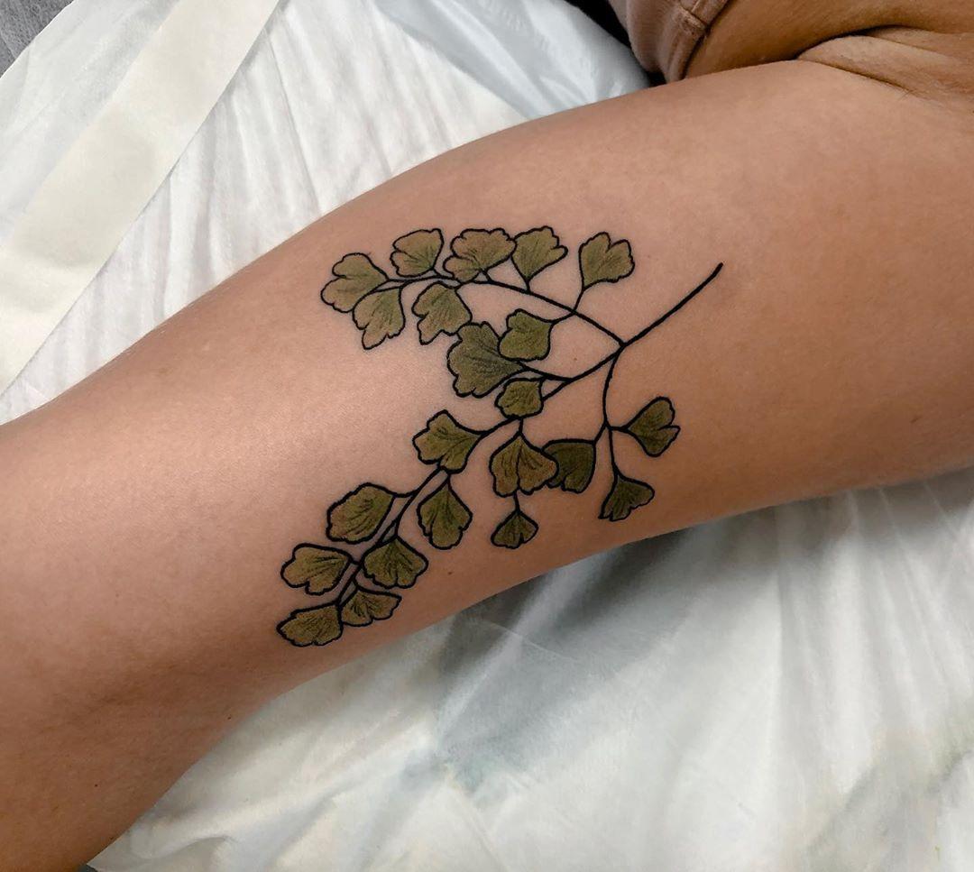 Maidenhair fern tattoo by @sophiabaughan