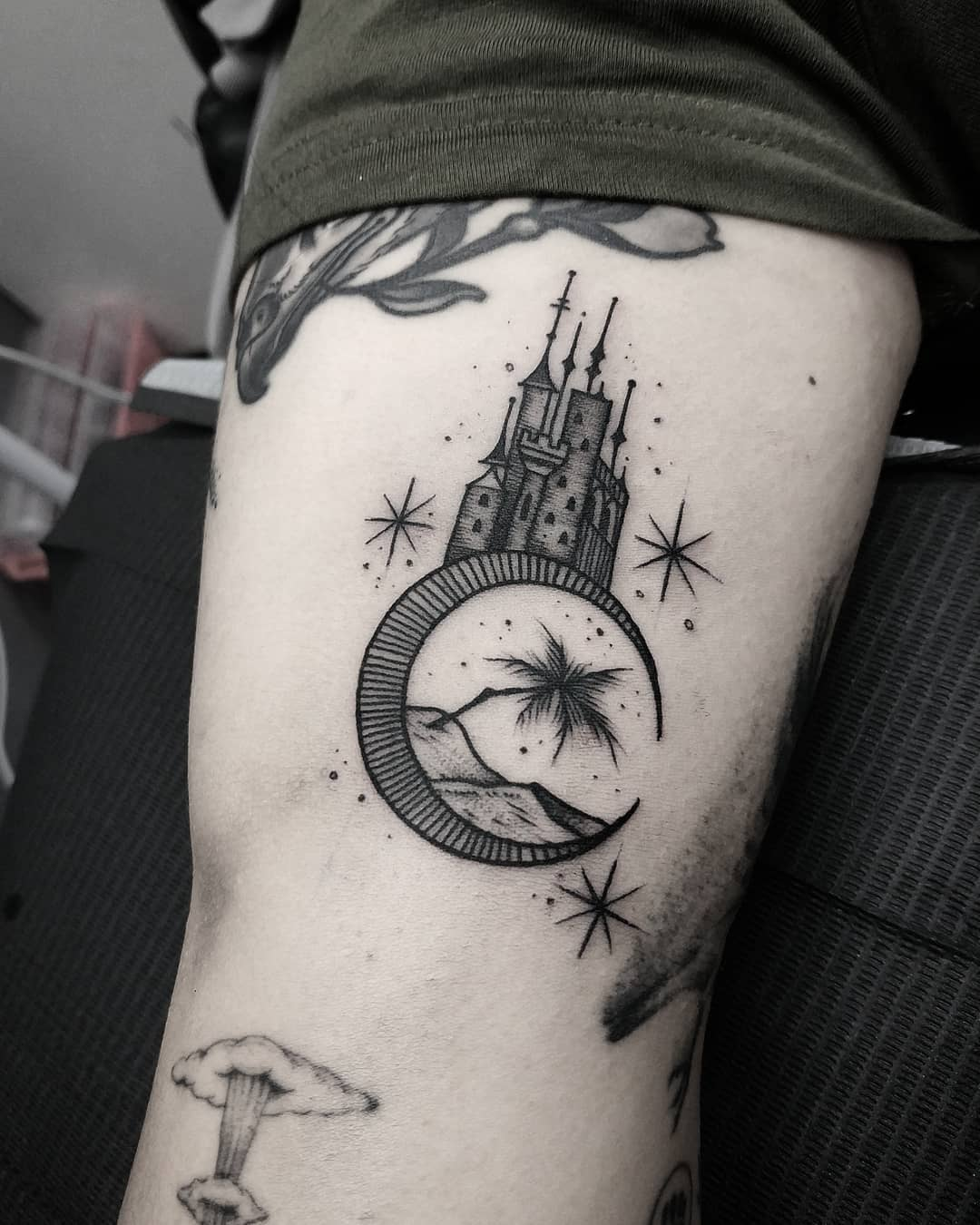 Moon tower by @thomasetattoos