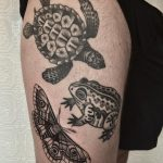 Moth, turtle, and frog tattoos by @justinoliviertattoo