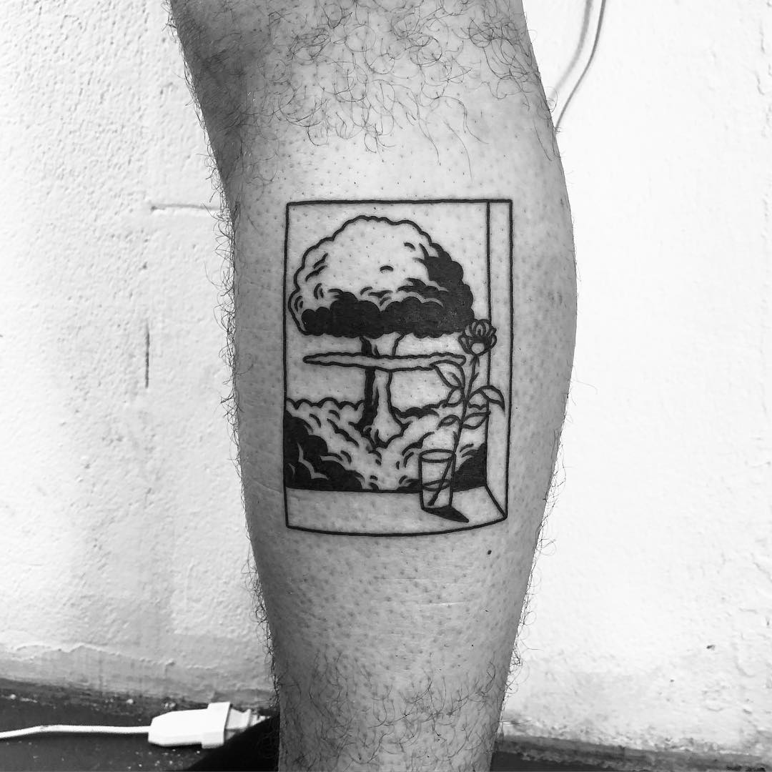 Nuclear explosion tattoo by @alexbergertattoo