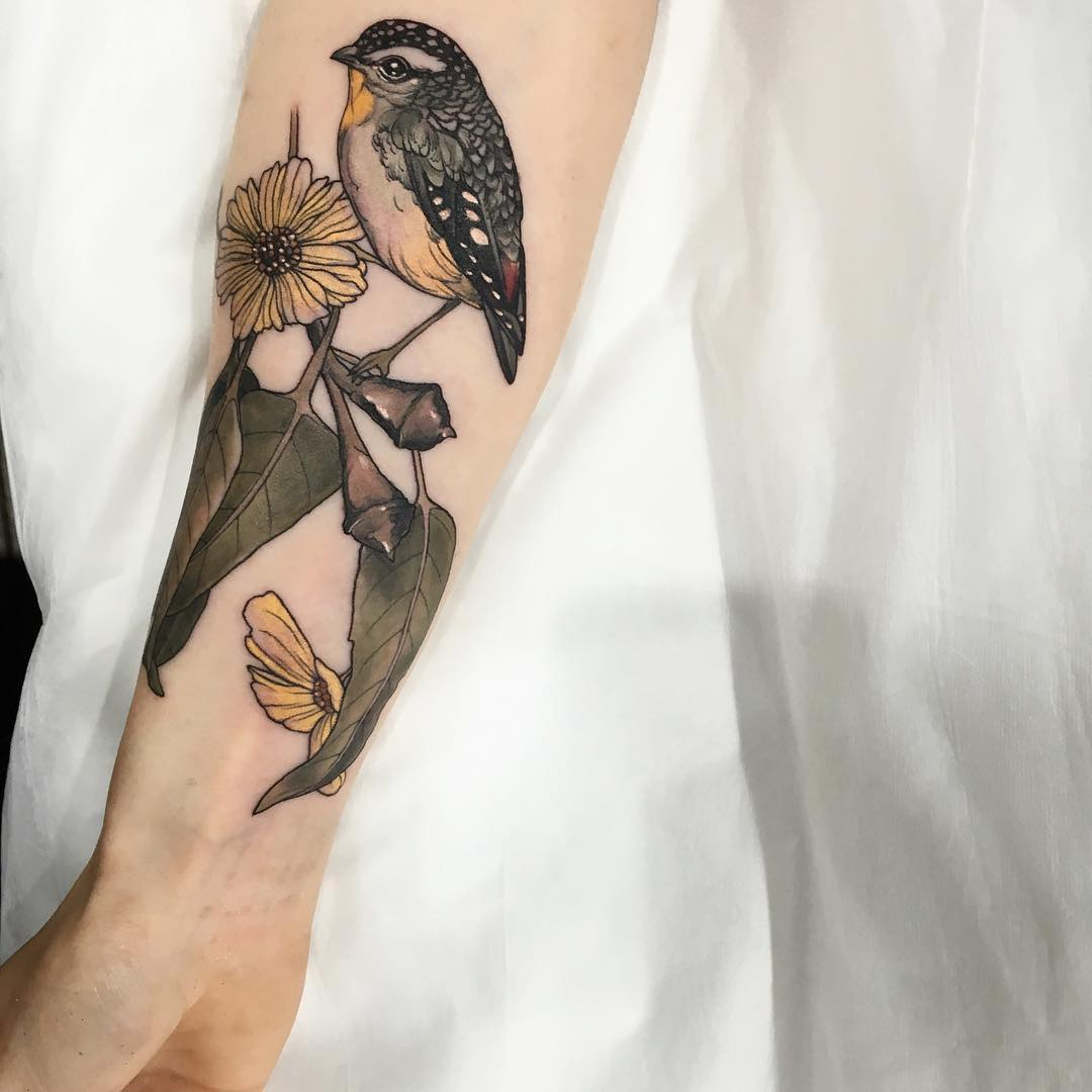 Pardalote tattoo by @sophiabaughan