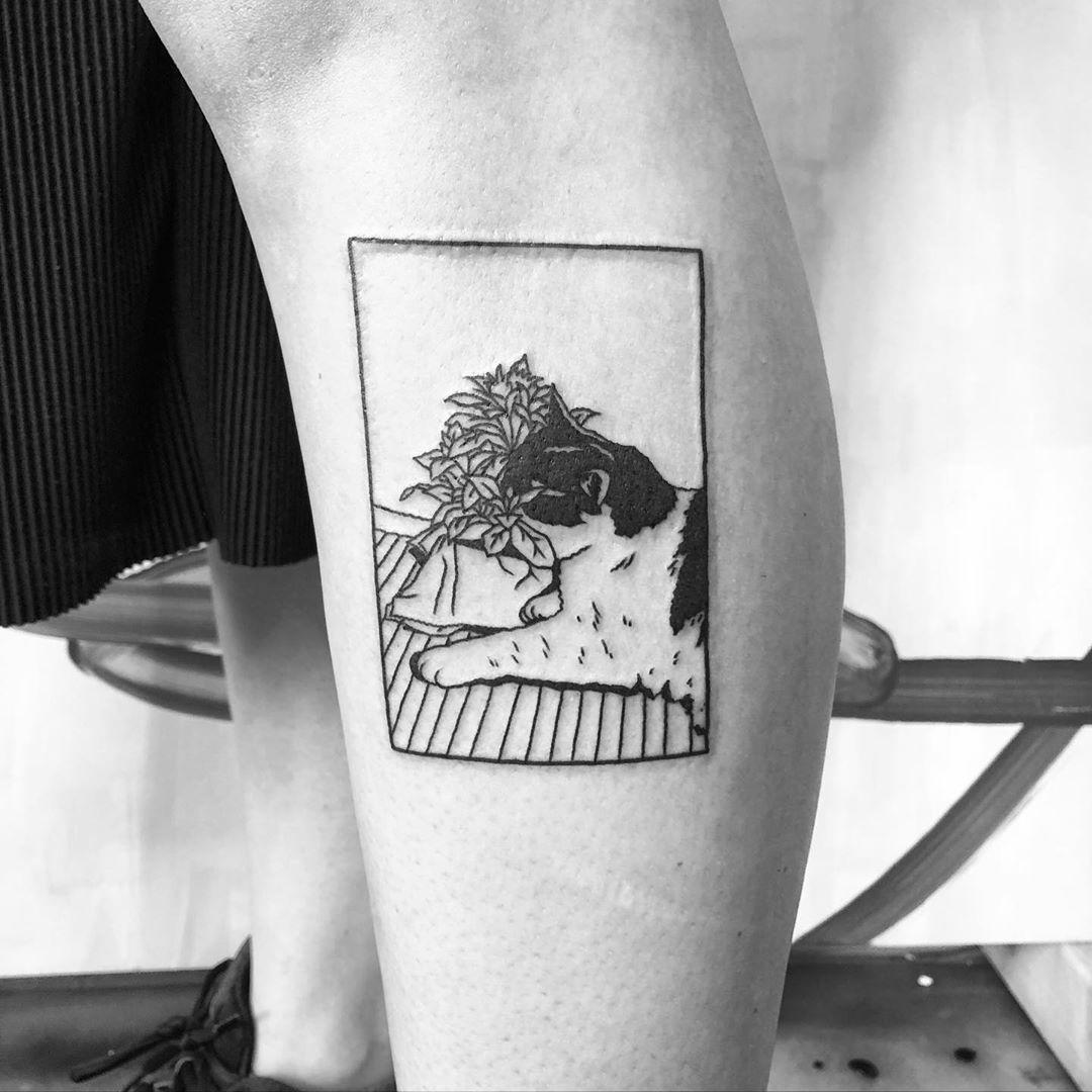 Plant and cat by @alexbergertattoo