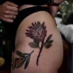 Protea tattoo by @sophiabaughan