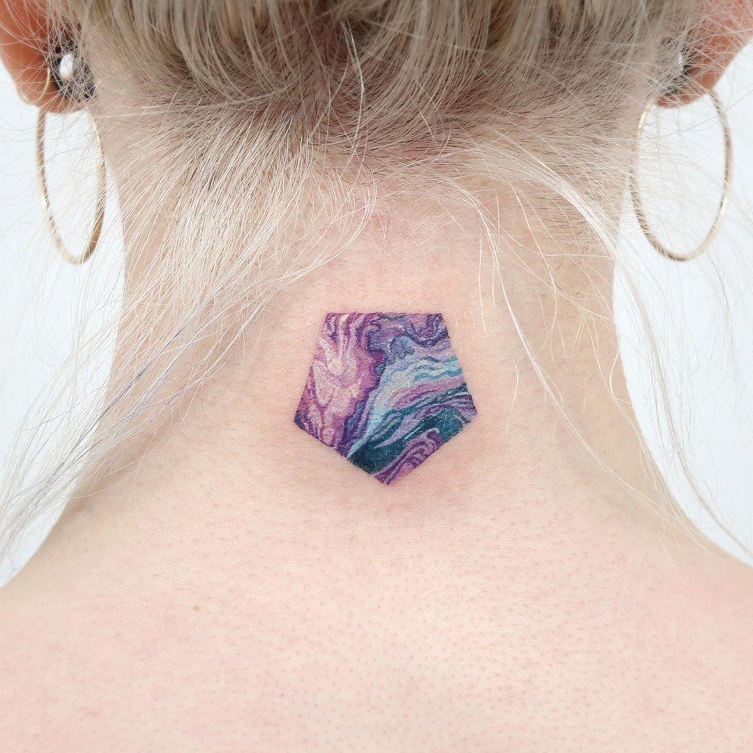 Purple pentagon tattoo by @tattooist_sigak