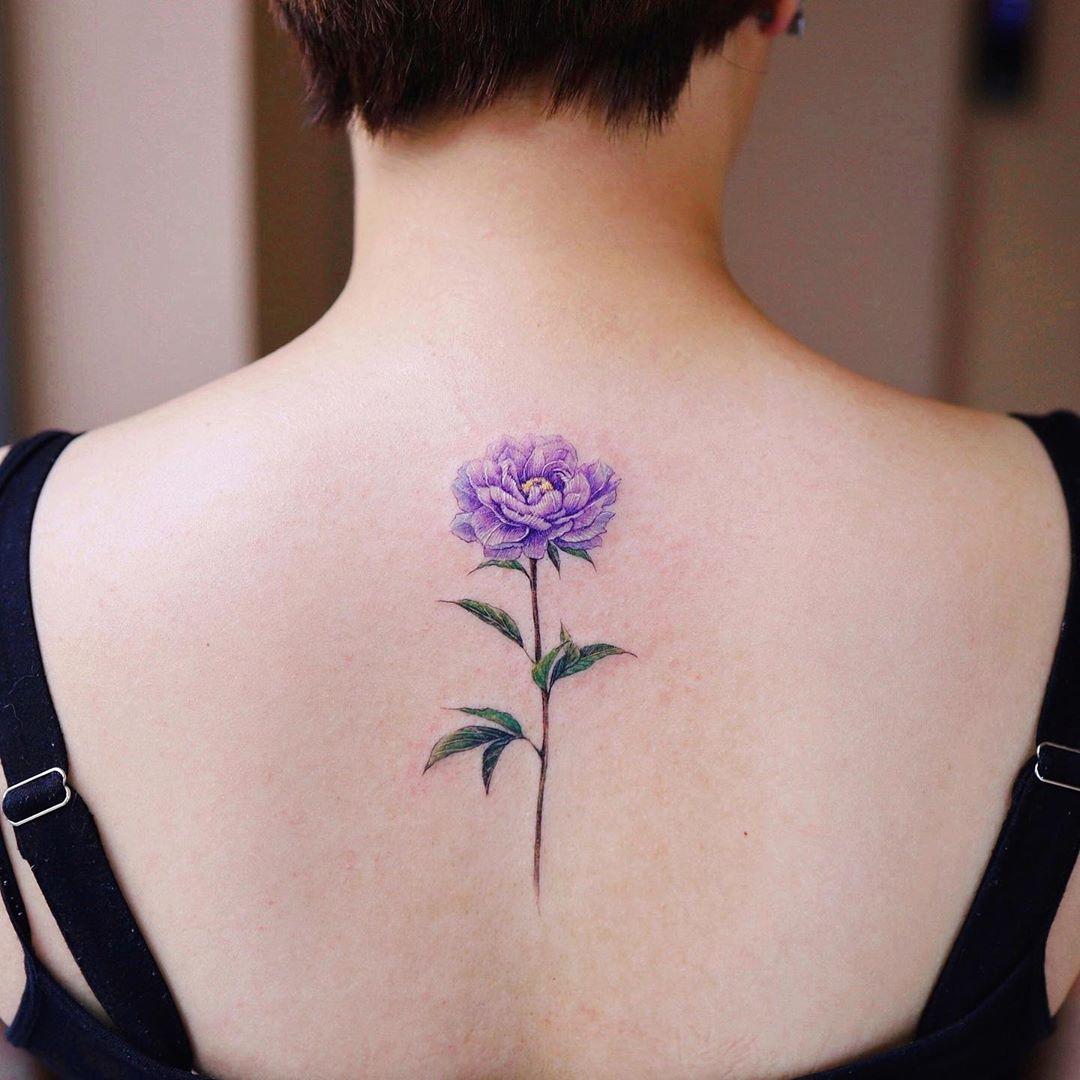 Purple peony by @vane.tattoo_