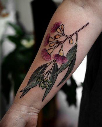 Red ironbark eucalyptus tattoo by @sophiabaughan