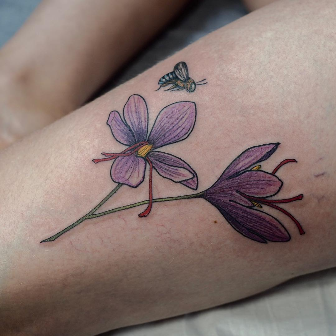 Saffron flower and blue banded bee by @sophiabaughan