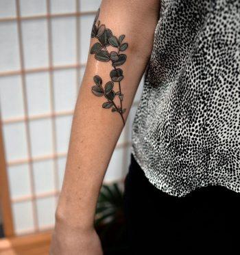 Silver dollar gum leaves tattoo by @sophiabaughan