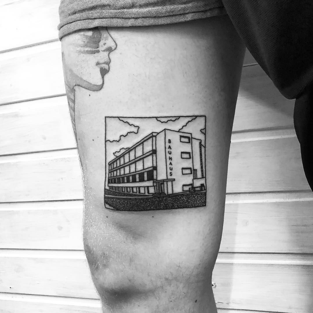 The Bauhaus building tattoo by @alexbergertattoo