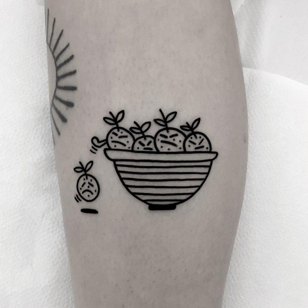 The annoying oranges tattoo by @nancydestroyer