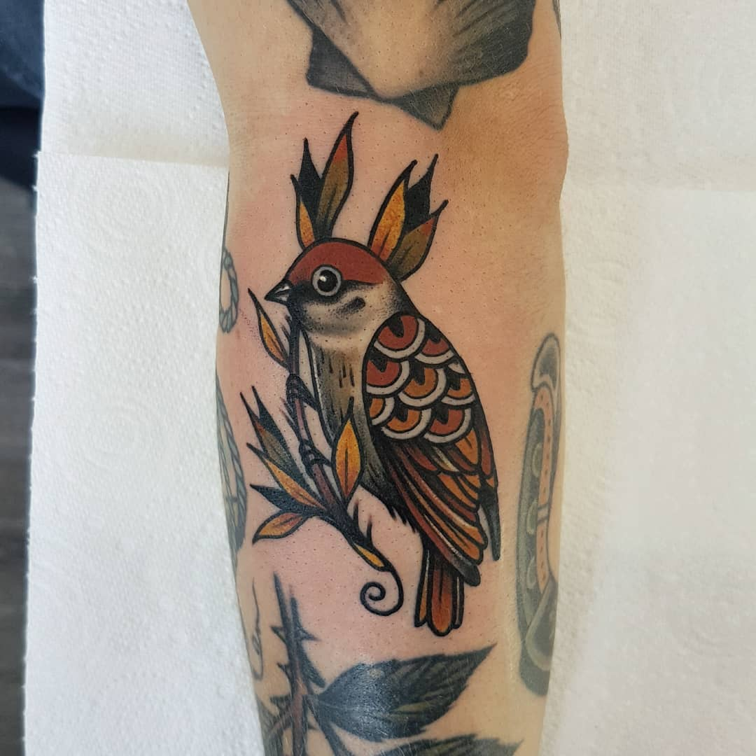 Tree sparrow by @rabtattoo