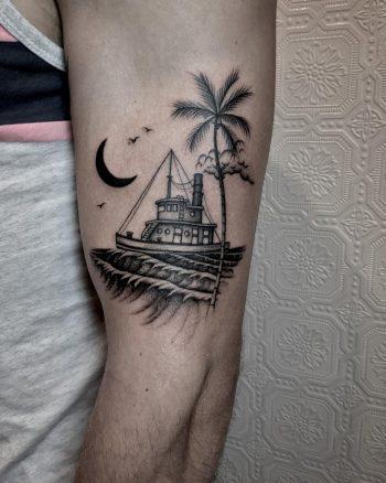 Tugboat tattoo by @justinoliviertattoo