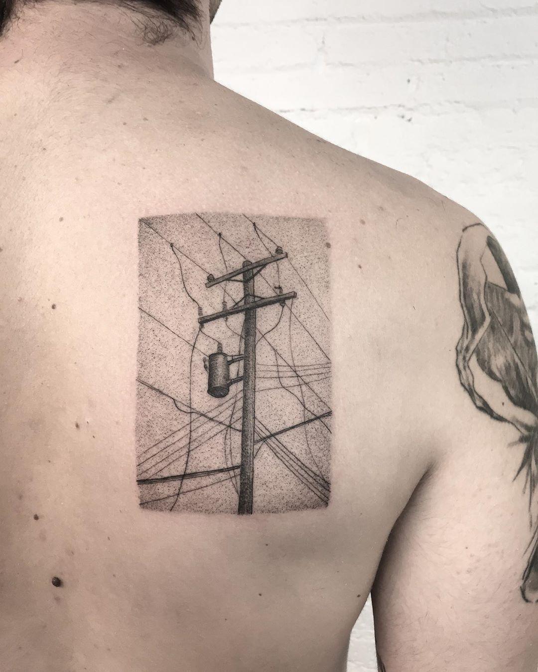 Utility pole tattoo by @sztuka_wojny