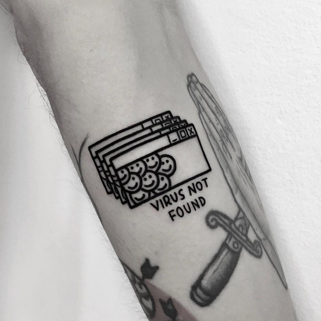 Virus not found tattoo by @nancydestroyer