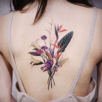 Wildflower bouquet by @vane.tattoo_