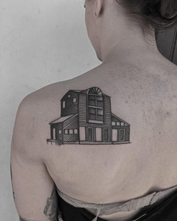 Childhood home tattoo by @justinoliviertattoo