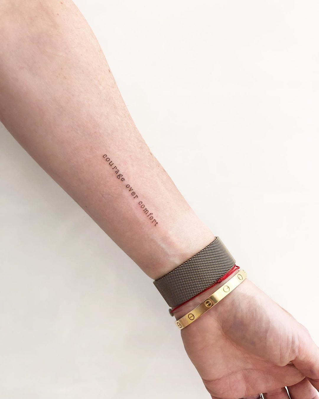 Courage over comfort tattoo by @joannamroman