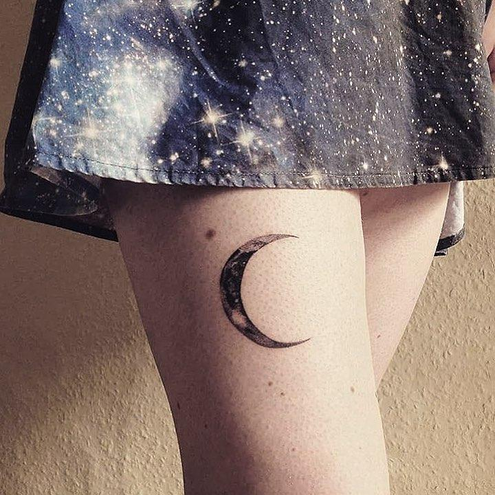 Crescent moon by @rebecca_vincent_tattoo